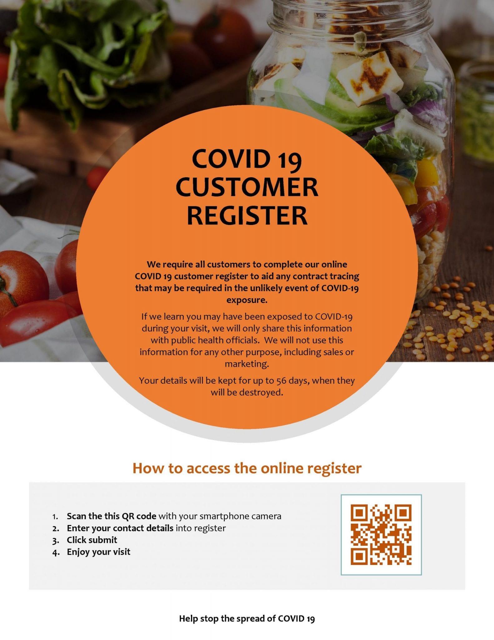 Covid 19 Customer Register Flyer